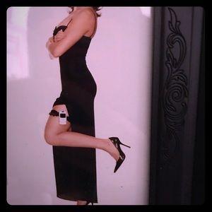 Shelli Segal, spaghetti-strap, black dress w/slit